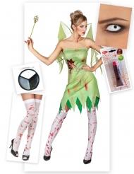 Pack déguisement fée verte ensanglantée femme Halloween