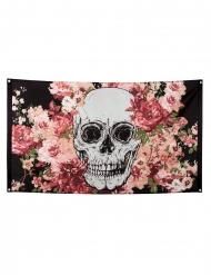 Drapeau en polyester squelette fleuri noir 90 x 150 cm