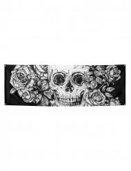 Décoration murale squelette fleuri 74 x 220 cm