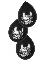 6 Ballons en latex squelette fleuri noir 25 cm