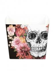 6 Bols en carton squelette fleuri 40 cl