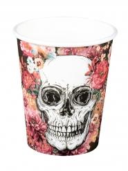 6 Gobelets en carton squelette fleuri 25 cl