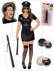 Pack déguisement officier de police zombie femme