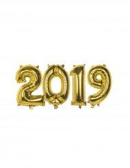 Ballons chiffres 2019 aluminium doré 36 cm