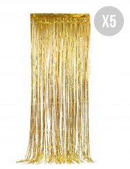 Pack de 5 rideaux scintillants dorés