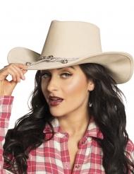 Chapeau cowboy beige adulte
