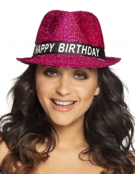 Chapeau happy birthday pailletté rose adulte
