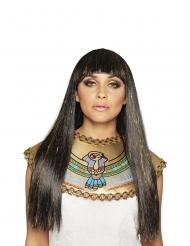 Perruque longue noire et dorée reine du Nil femme