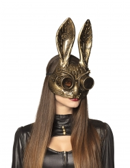 Demi masque lapin doré adulte Steampunk