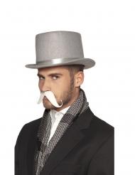 Moustache adhésive blanche adulte