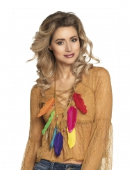 Collier plumes multicolores adulte