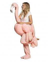 Déguisement femme à dos de flamant rose adulte