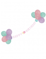 Guirlande avec ballons Happy Birthday pastel 1,5 m