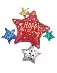 Ballon aluminium Etoile Happy Birthday multicolore 81 x 88 cm