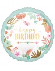 Ballon aluminium rond happy birthday vert d