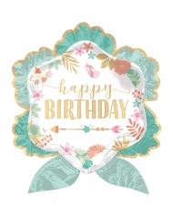 Ballon aluminium fleur Happy Birthday vert d