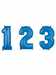 Ballon aluminium chiffre bleu 43 x 66 cm