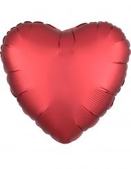 Ballon aluminium coeur rouge rubis satiné 43 cm