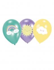 6 Ballons en latex Petit Nuage menthe, violet et jaune 27,5 cm