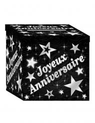 Urne en carton joyeux anniversaire noir et argenté