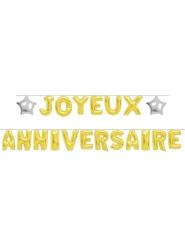 Guirlande ballons lettres Joyeux Anniversaire dorée 6m