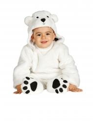 Déguisement combinaison avec capuche ours blanc bébé