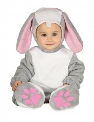 Déguisement combinaison avec capuche lapin gris bébé