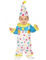 Déguisement combinaison clown à pois pastel bébé