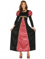 Déguisement dame médievale noir et rouge femme
