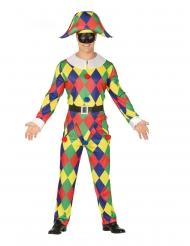 Déguisement arlequin multicolore homme