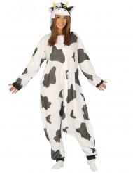 Déguisement combinaison vache noire et blanche adulte
