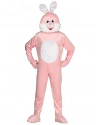 Déguisement combinaison mascotte lapin rose adulte
