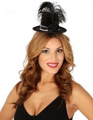 Mini chapeau haut de forme brillant noir avec rose et plume femme