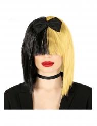 Perruque blonde et noire chanteuse pop adulte
