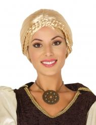Perruque blonde avec chignon et tresses viking femme