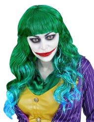 Perruque psychopathe verte et bleue femme