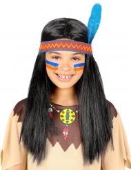Perruque indien avec bandeau et plume enfant