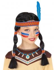 Perruque indienne avec bandeau et plume enfant