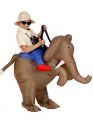 Déguisement gonflable explorateur à dos d'éléphant enfant