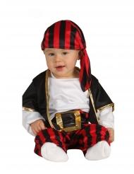Déguisement capitaine des pirates noir et rouge bébé