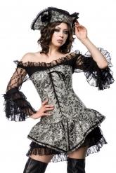 Déguisement pirate corset argenté sexy femme