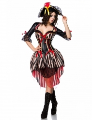 Déguisement pirate corset rouge sexy femme