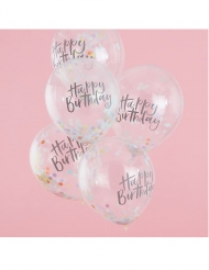 5 Ballons en latex transparents Happy birthday confettis pastel 30 cm