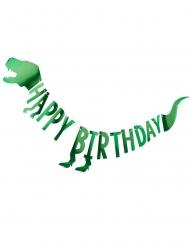 Guirlande en carton Happy birthday dinosaure verte métallisée 2 m