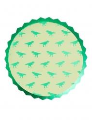 8 Assiettes en carton dinosaure vertes métallisées 23 cm