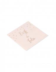 16 Serviettes en papier EVJF de folie rose gold 33 x 33 cm