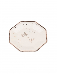 8 Assiettes en carton EVJF de folie rose gold 23 cm