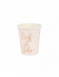 8 Gobelets en carton EVJF de folie rose gold 255 ml