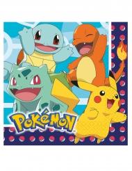16 Serviettes en papier Pokémon™ 33 x 33 cm