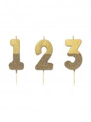 Bougie sur pique chiffre dorée pailletée 13,8 cm